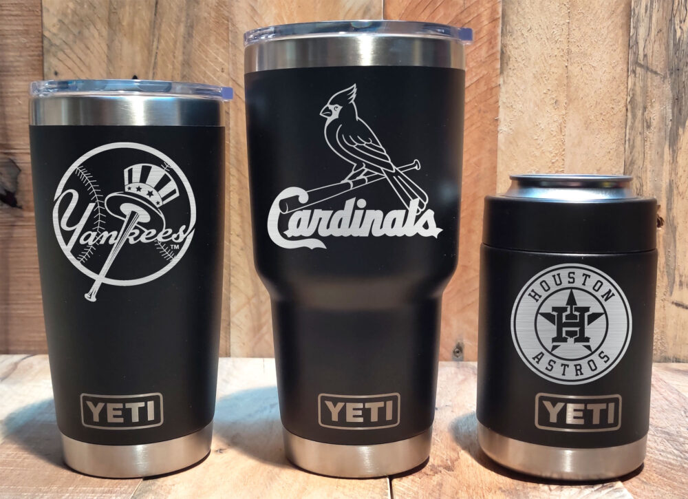 Yeti Black Stainless Steel Tumbler Laser Engraved 20 Or 30 Oz., Colster - Select Your Mlb Baseball Team, Personalized
