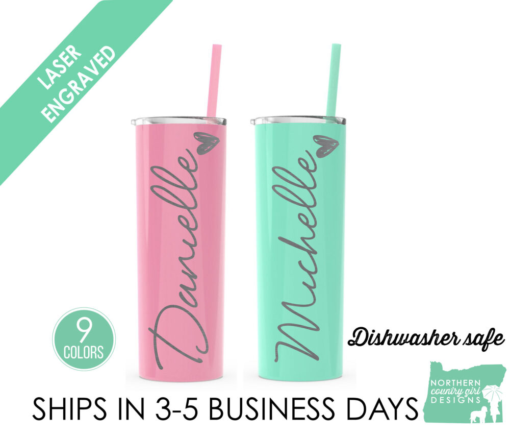 Set Of 2 Stainless Steel Tumblers Tumbler With Name Birthday Gift Personalized Cup Engraved