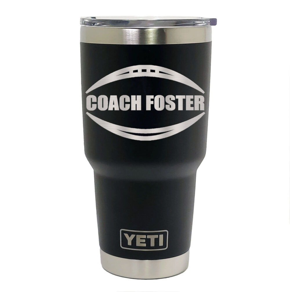 Yeti Black Stainless Steel Tumbler Laser Engraved 20 Or 30 Oz. - Personalized Football Player, Coach