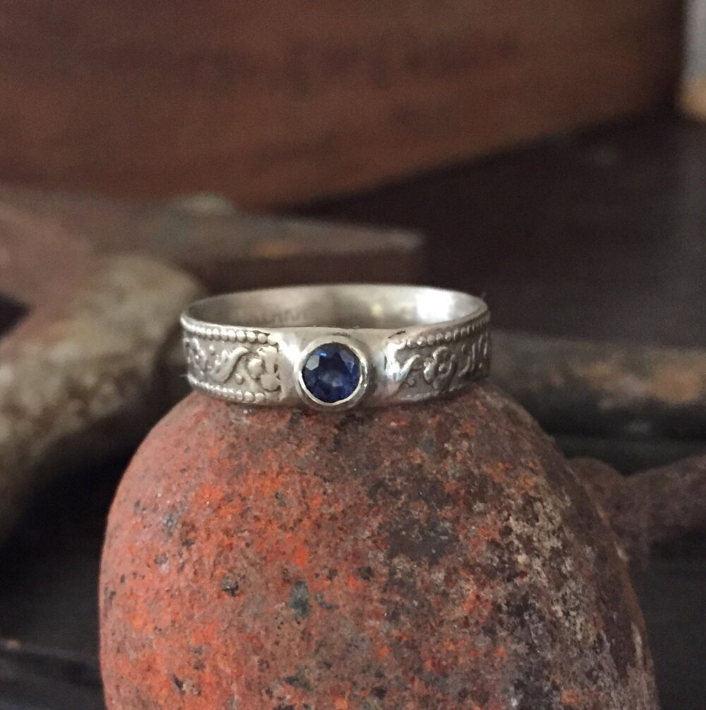 White Gold Ring Sapphire Ancient Pattern Cast Recycled