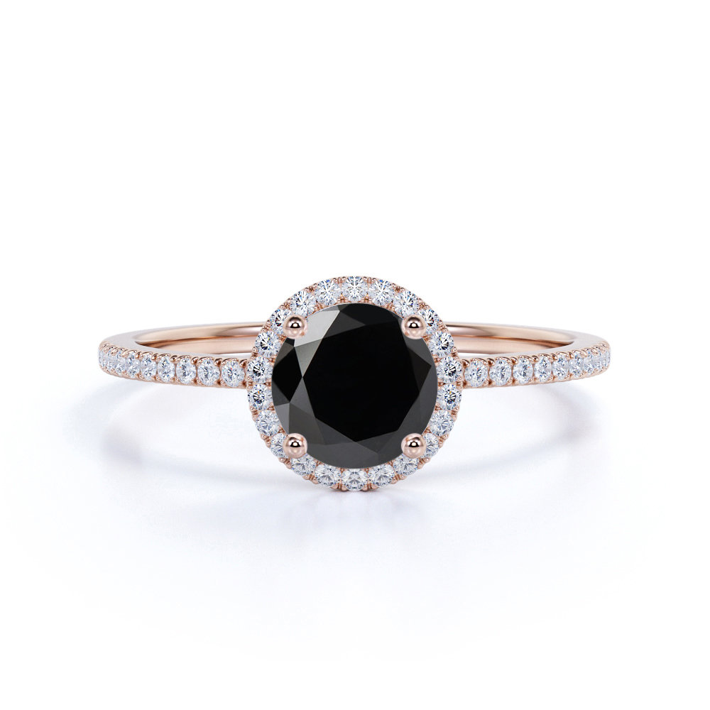 Round Black Diamond Engagement Ring With Halo, Rose Gold Wedding Ring, Unique Bridal New Years Gift For Her