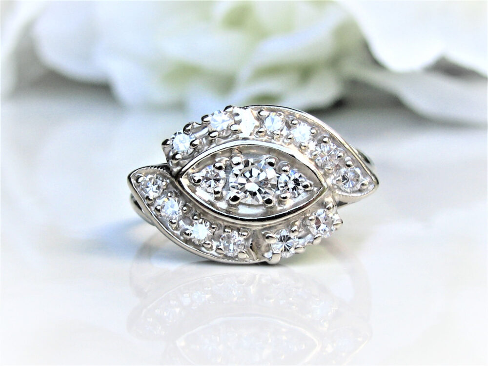 Unique Vintage Engagement Ring 0.88Ctw Diamond Cluster Cocktail 14K White Gold Wavy Bypass Anniversary Wedding