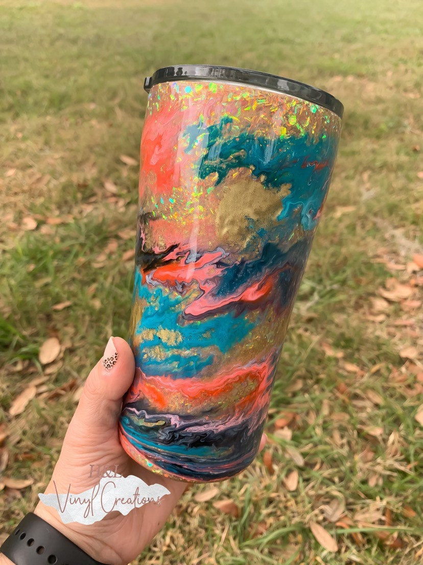 Alcohol Ink Tumbler, Glitter Personalized Cup, Tumbler Cup