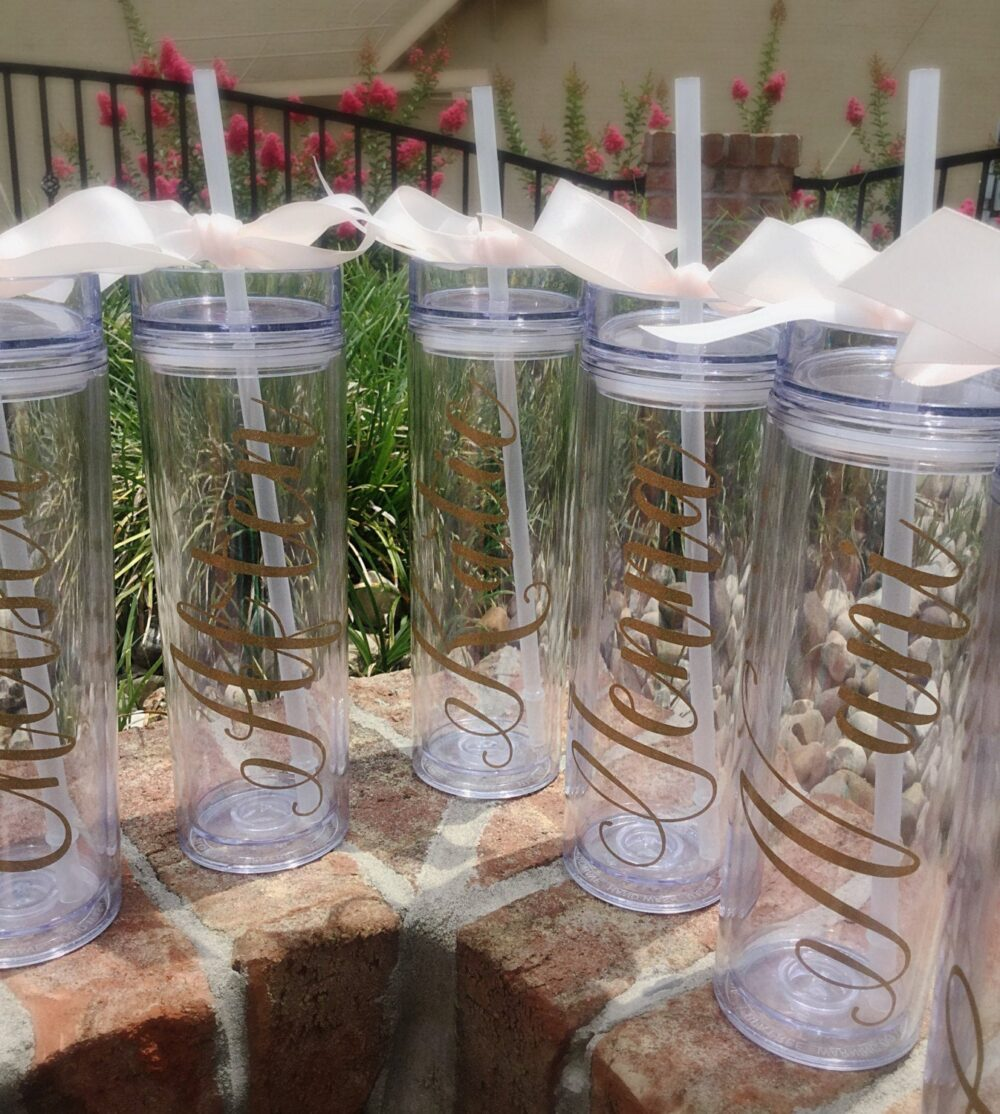 Personalized Bridesmaid Tumbler Glitter Personalized Gift Bridal Party Acrylic Cups With Lids Gold Wedding