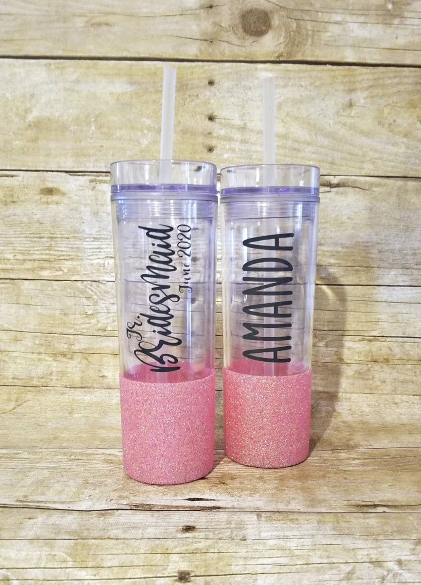 Jr. Bridesmaid Cup, Wedding Party Gifts, Maid Of Honor, Bridesmaid Gift, Glitter Tumbler, Flower Girl