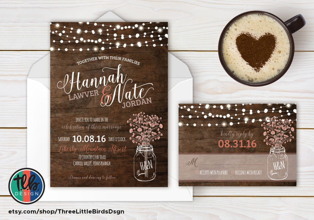 Rustic Wedding Invitation Mason Jar Invite Hanging Lights Fall With Rsvp Card Babys Breath Country