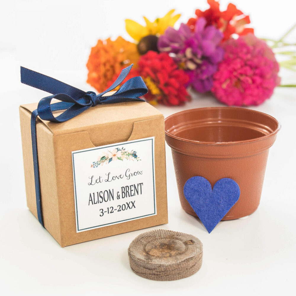 Wedding Favor Boxed Grow Kit Gift - Mini Blooming Heart Flower Seeds | Personalized Thank You Gifts, Bridal Shower Favors &