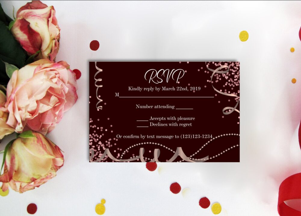 Rsvp Card Black & Rose Gold Diamond. Printable & Confetti Diamond Number Digital Files