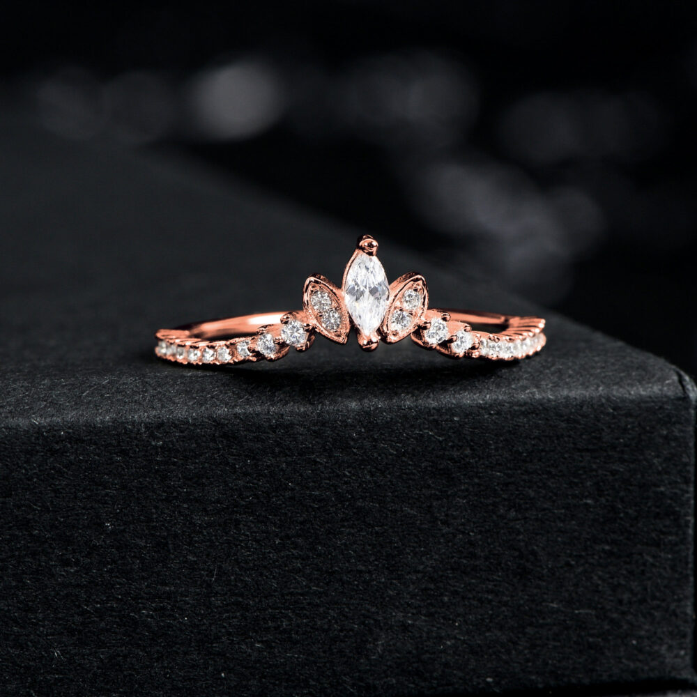 Tiara & Crown Wedding Bands Women, Curved Band, Promise Ring For Her, Rose Gold Band Cz Eternity Sterling Silver