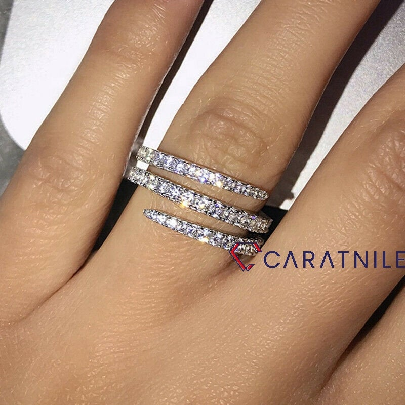 Round Moissanite Wedding Delicate Band 2mm Eternity in Solid 14K Rose/White Gold Matching Band, Fashion Jewelry