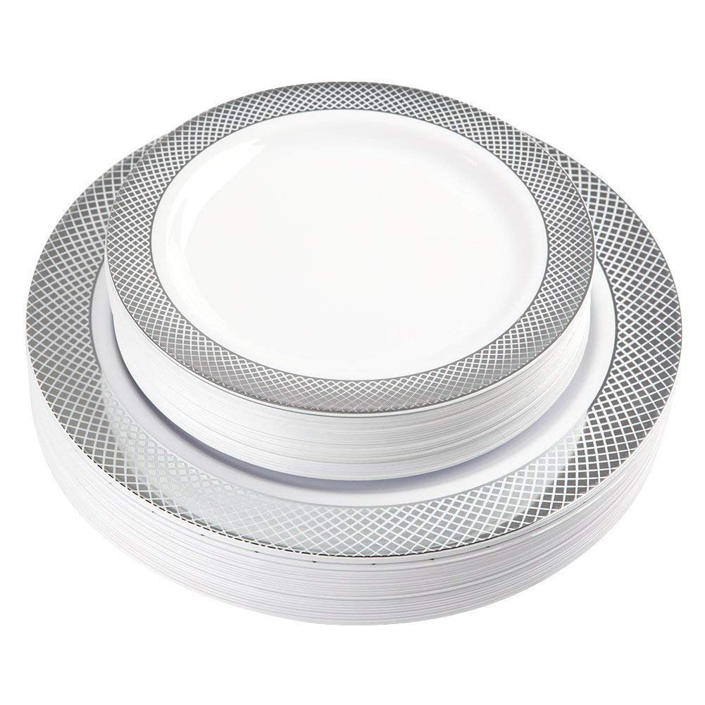 60 Pack Disposable Plastic Plates, Silver Plates Party Wedding Include 30 Dinner 10.25 Inch Salad Dessert 7.5
