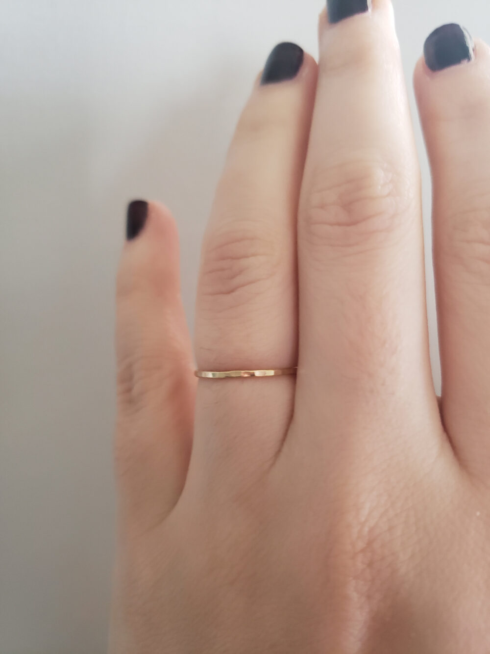 Skinny Rose Gold Hammered Band, Stacking Ring, Dainty Delicate Midi Thin Fill Ring