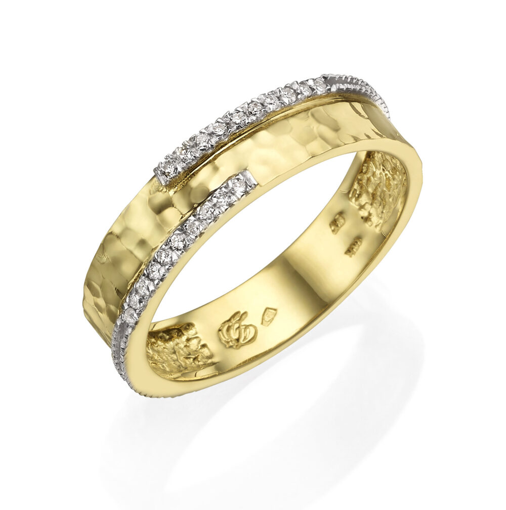 14K Solid Gold Hammered Band, Diamonds Ring For Women, Engagement Ring, Wide Band Dainty Delicate