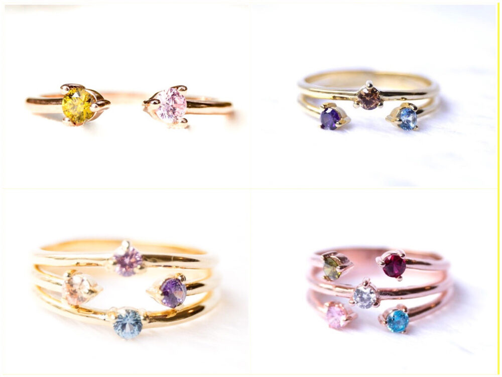 Dainty Family Birthstone Ring - Personalized Mothers 2, 3, 4 Stone Rings For Women Jewelry, Day Gift