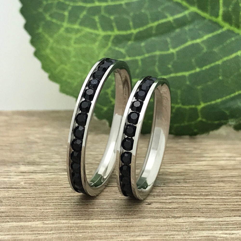 3mm His & Hers Stainless Steel Wedding Ring, Custom Engrave Eternity Black Cz Band Couples Ring Sets