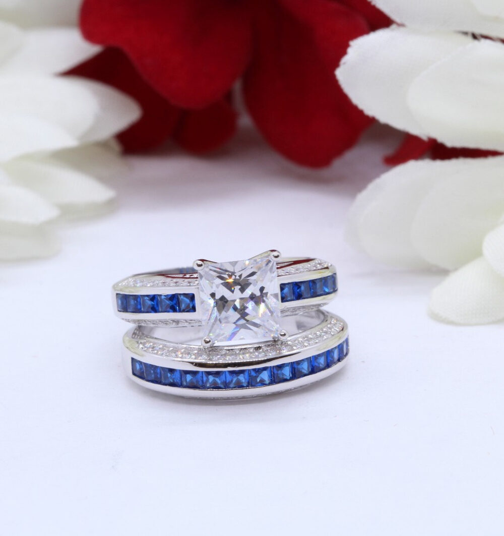 Two Piece Wedding Engagement Ring Band 2.00Ct Princess Cut Square Simulated Saphire Diamond Cz Solid 925 Sterling Silver