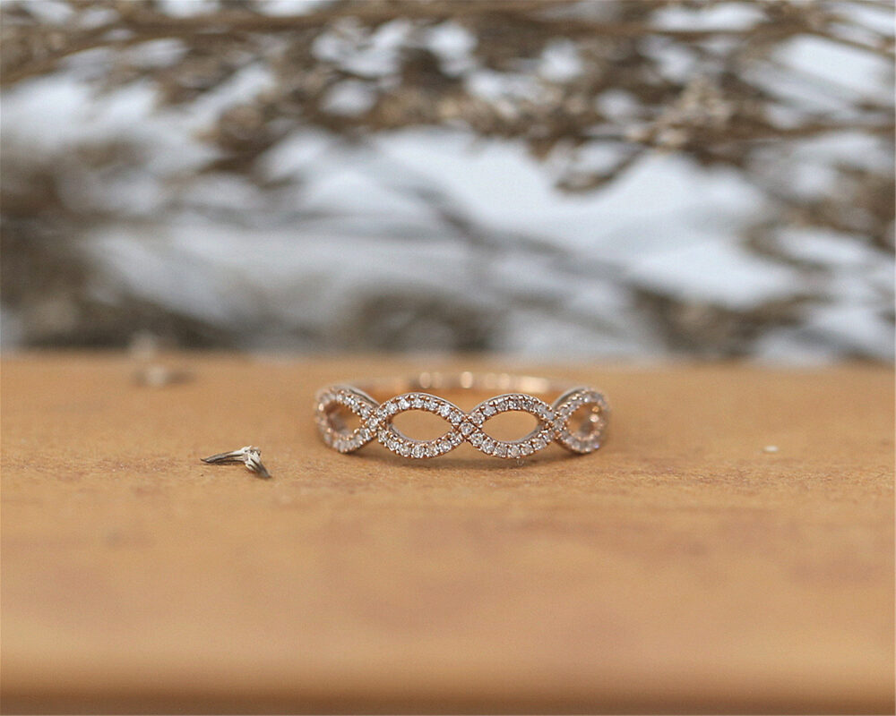 Special Unique Cubic Zirconia Wedding Ring Bridal Band Half Eternity Handmade Sterling Silver Stackable Match Anniversary