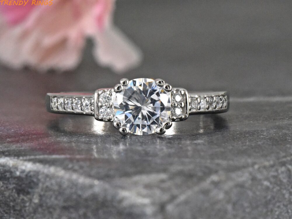 Womens Wedding Ring - Band Cubic Zirconia Round Solitaire Pave Set Engagement Sterling Silver