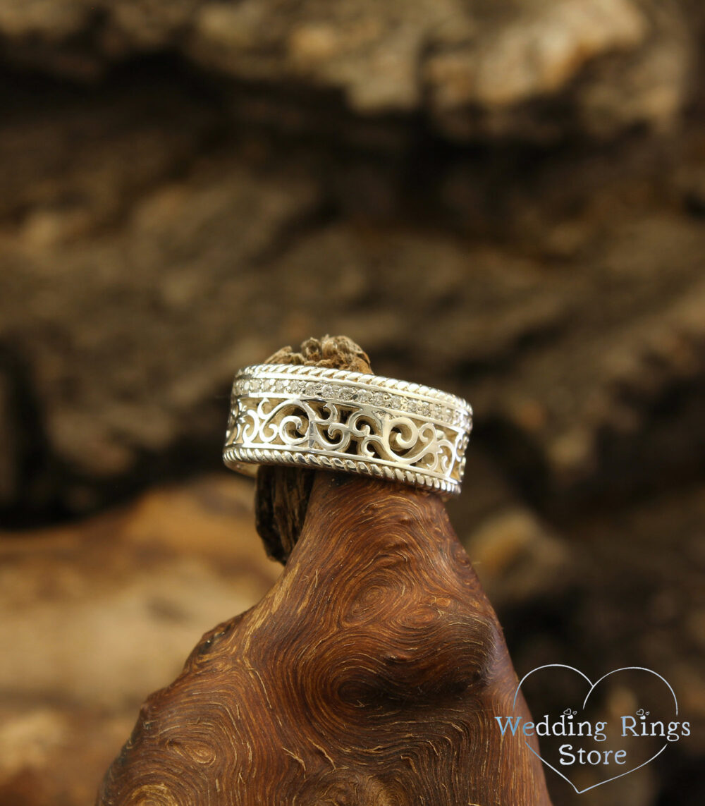 Filigree & Vine Vintage Style Wedding Band, Silver Unique Ring, Women Men's Unusual Ring