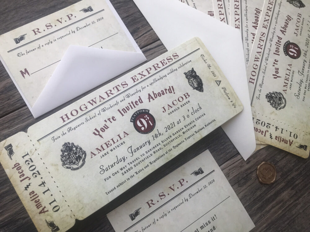 Harry Potter Wedding Invitations | Hogwarts Express Boarding Pass Die Cut Like A Real Ticket