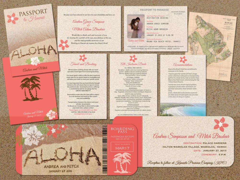 Hawaii Cute Passport Wedding Invitations For in With Boarding Pass Reply Cards