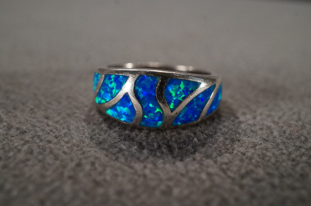 Vintage Sterling Silver Wedding Band Stacker Design Ring 7 Multi Shape Opal Classic Collectable Art Deco Style, Size