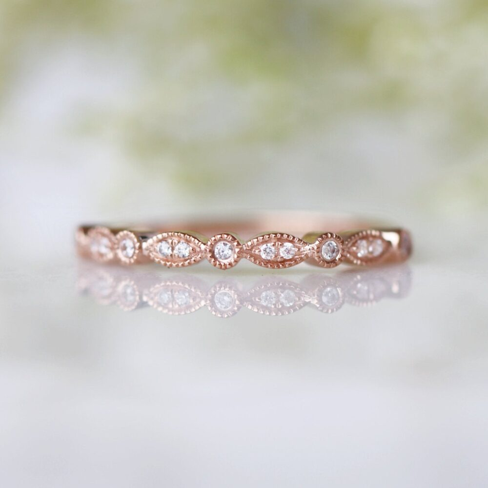 Rose Gold Wedding Band - 14K Vermeil Stackable Ring- Matching Milgrain Band- Half Eternity Anniversary Gift For Her