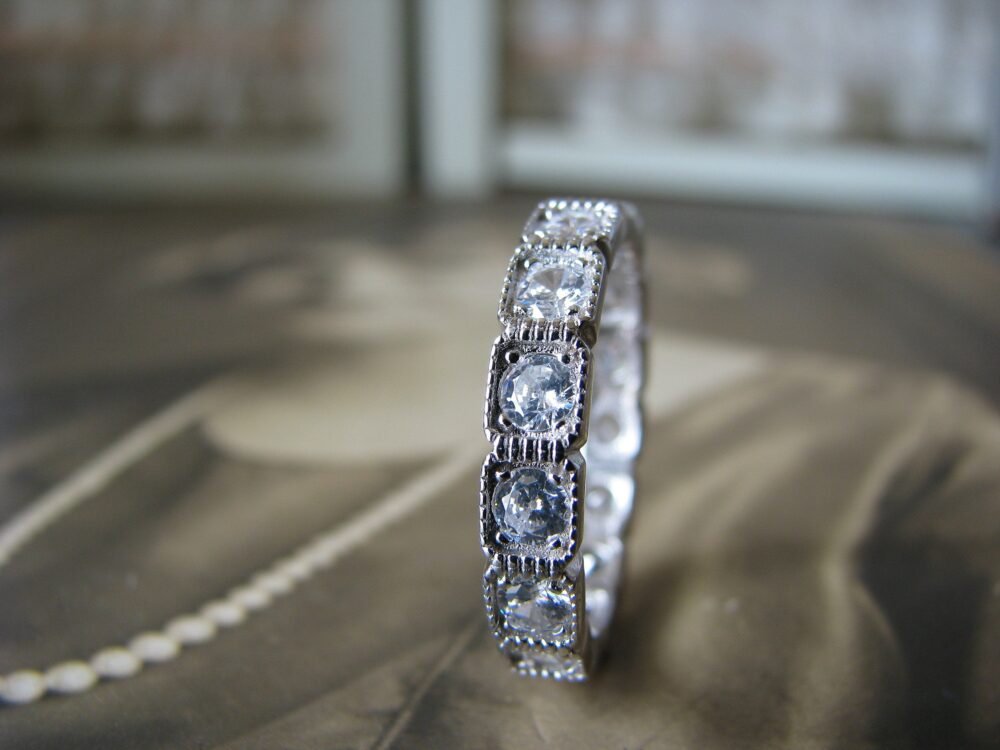 Art Deco Style Wedding Band, Sterling Silver Cz Eternity Anniversary Ring, Bridal Size 9
