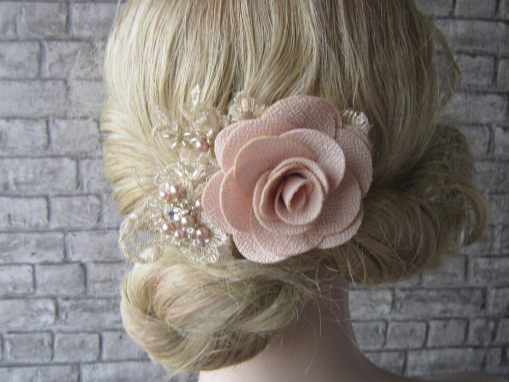 Powder Pink Wedding Flower Hair Comb/ Beige Lace & Pearl Beaded/Comb, Bridal Accessories