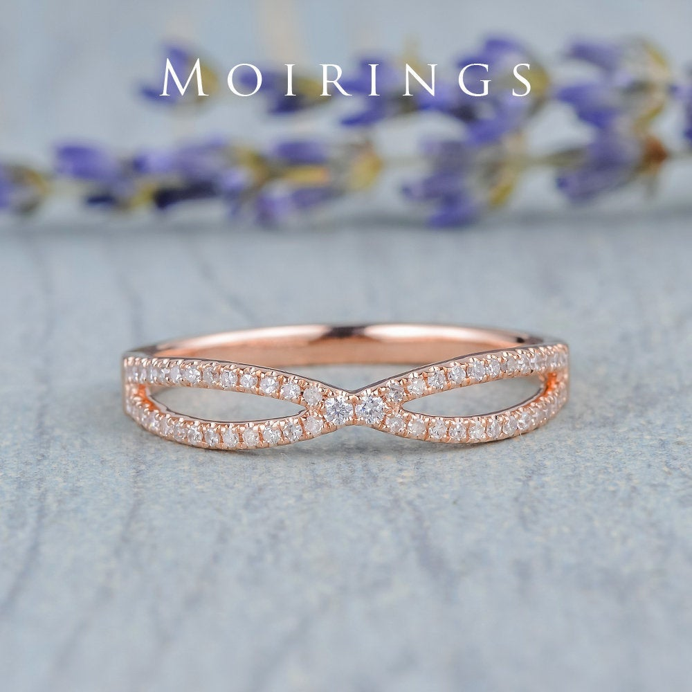 Infinity Wedding Band Women Rose Gold Cross Bridal Ring Diamond Pave Curved X Shaped Engraving Anniversary Gift Stacking