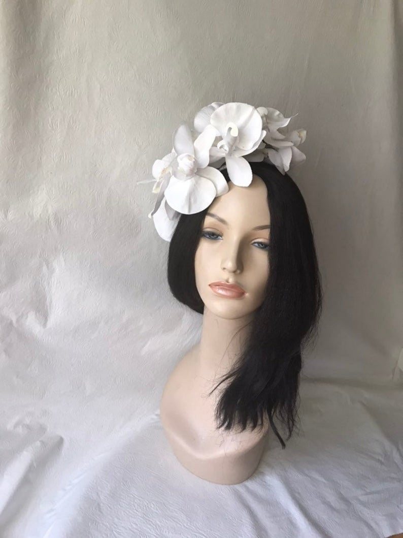 Kentucky Derby Fascinator Hat, White Orchid Flower Floral Fascinator, Crown