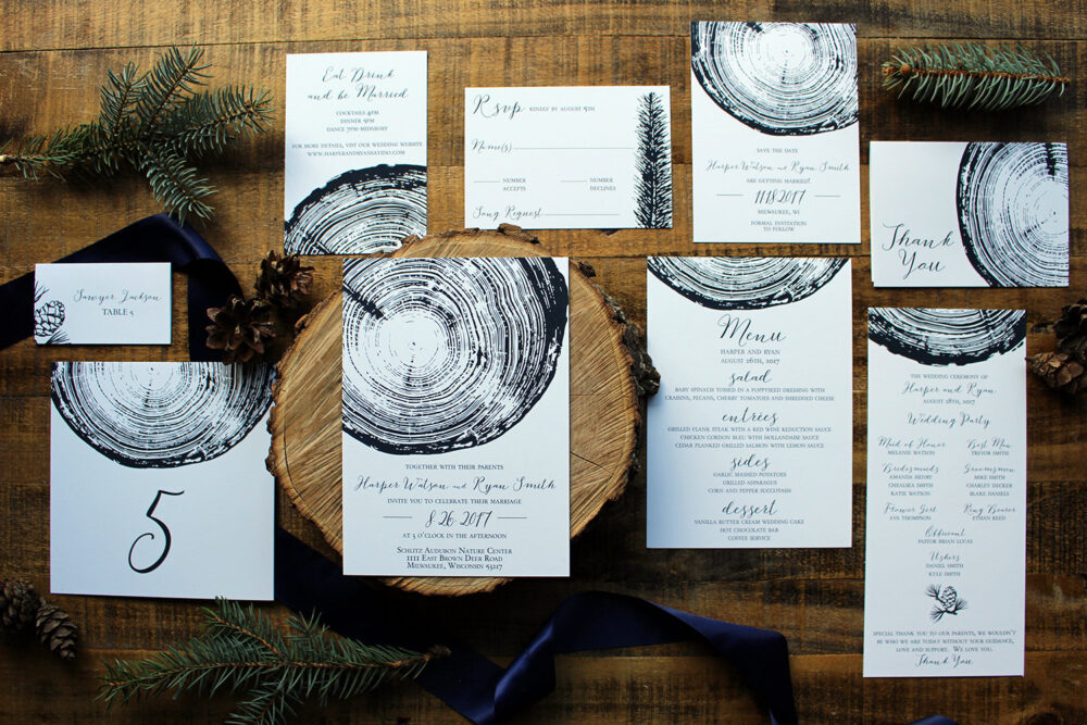 Downloadable Wood Slice/Rustic Outdoors Wedding Invitation, Save The Date, Place Cards, Table Number, Program, & Menu I Design