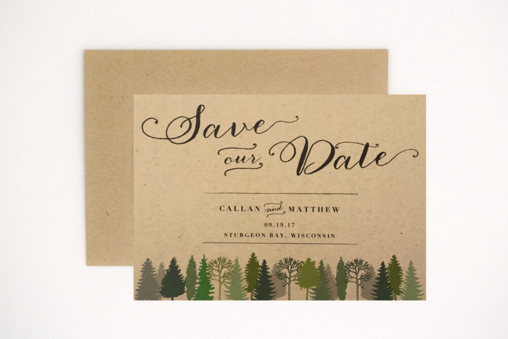 Woodsy Wedding Save The Date - Rustic Intimate Outdoorsy - Nature Birch Wood Romance | Callan Suite