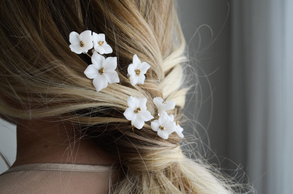 Wedding Ivory Flowers Hair Pins Set Of 4, Bridal Floral Pins, Ivory Gold Headpiece, Flower Accessories, Floral Design
