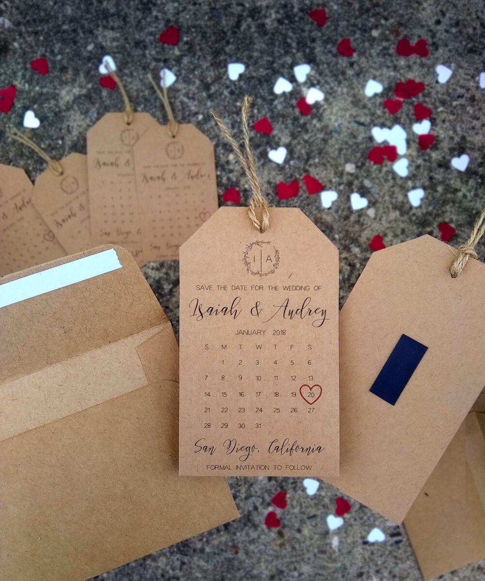 Wedding Save The Dates Tag Calendar & Envelope- Lovely, Kraft Brown, Invitation, Date Magnet, High Quality, Personalized