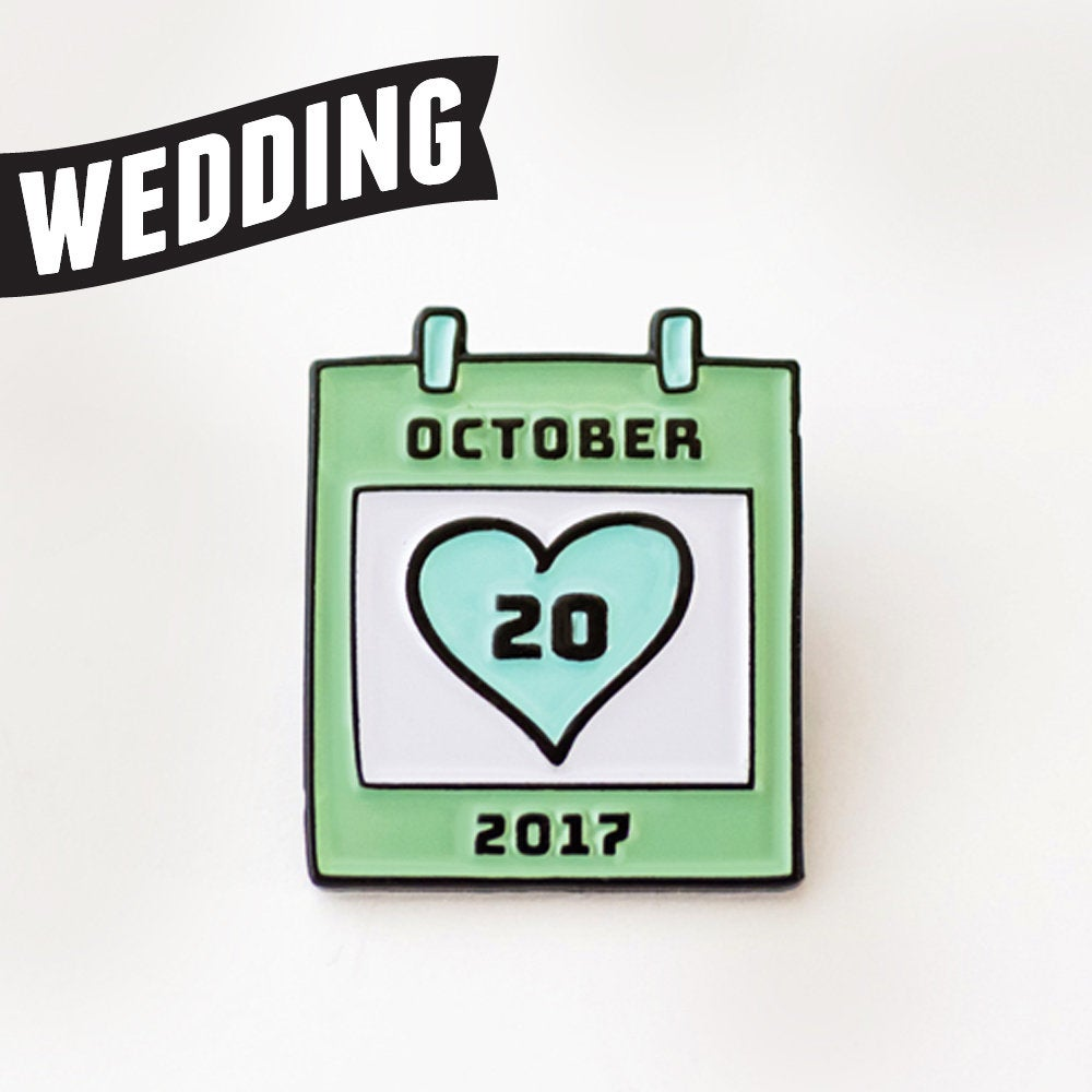 Set Of 50 Wedding Enamel Pins. Calendar Pin. Save-The-Date Made-To-Order With Your Date & Colors