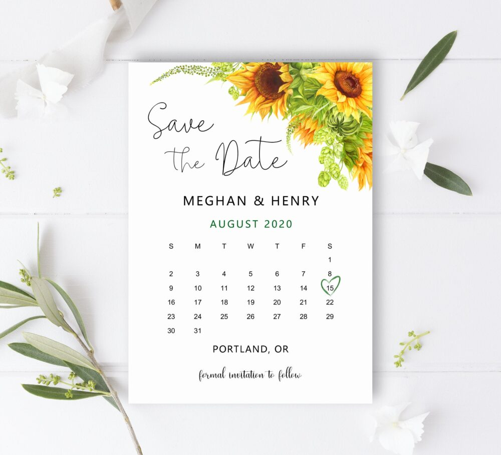 Save The Date Calendar Sunflower Wedding Announcement Birthday Cards Printable Personalized Digital File B79
