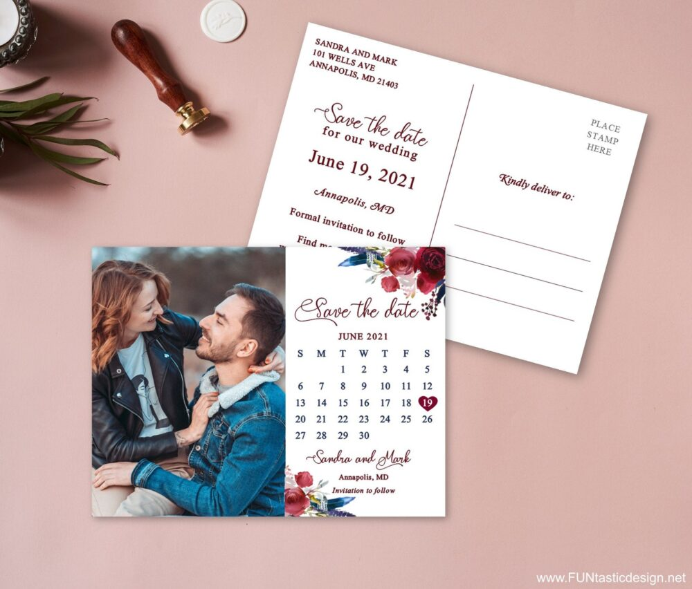 Boho Wedding Save The Date Postcards, Save Date Calendar, With Photo, Burgundy Cards Printed Feather Floral