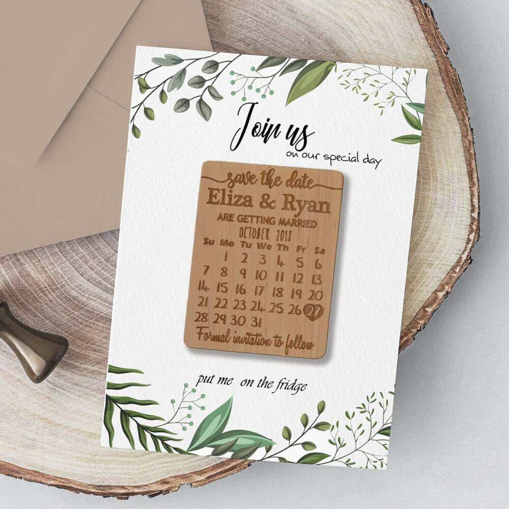 Wedding Save The Date Magnet, Calendar Magnets With Cards, Magnet Wedding, Rustic Wooden Save The Dates Magnets