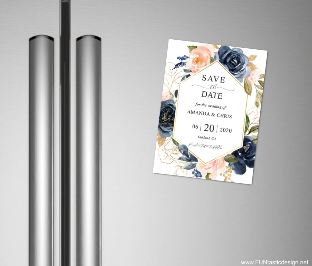 Wedding Save The Date Magnets + Envelopes, Magnet Save Date Calendar, Blush Pink Navy Blue Floral With Photo