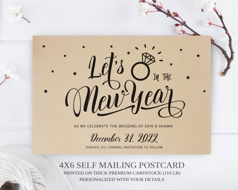 Printed | New Years Eve Wedding Save The Date Postcard/Kraft Paper Postcards