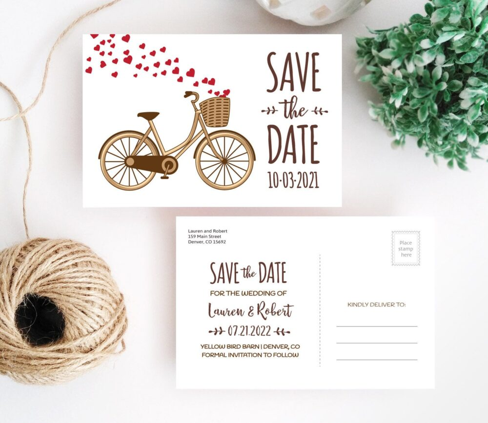 Printed   Bicycle Wedding Save The Date Postcard 4x6 Postcards For Garden Outdoor Wedding