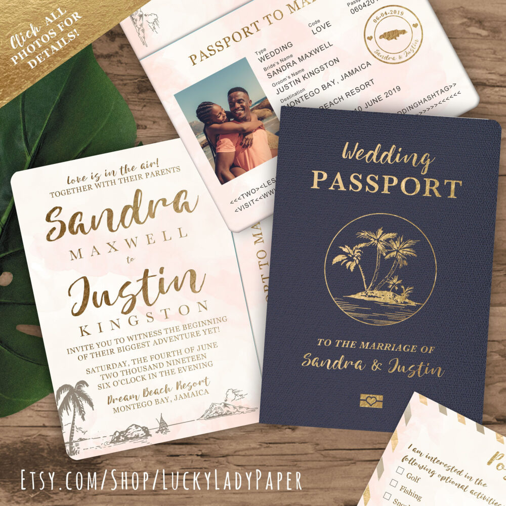 Destination Wedding Passport Invitation Set in Gold & Blush Watercolor Tropical Design By Luckyladypaper - See Item Details To Order