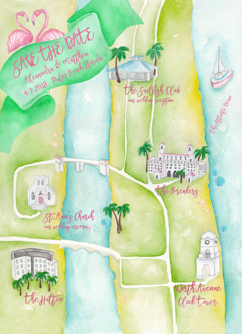 Custom Wedding Map - Watercolor Map Save The Date - Palm Beach