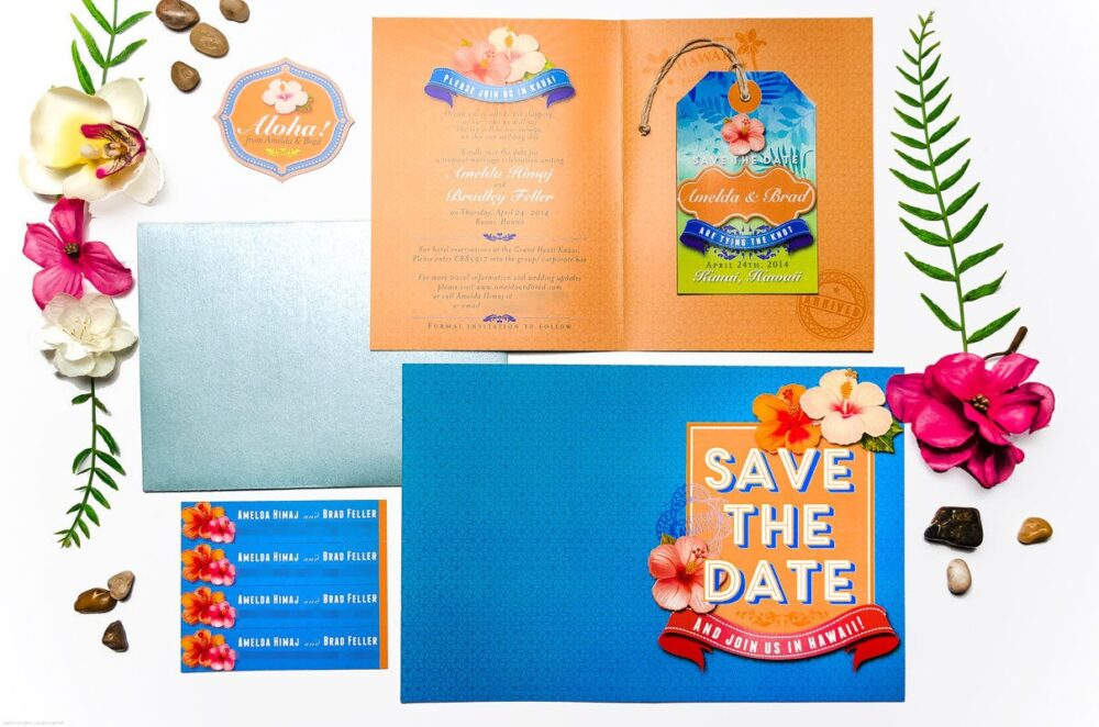 Luggage Tag Magnet Save The Date, Wedding Invitaion, Hawaii Wedding, Beach Tropical Hibiscus