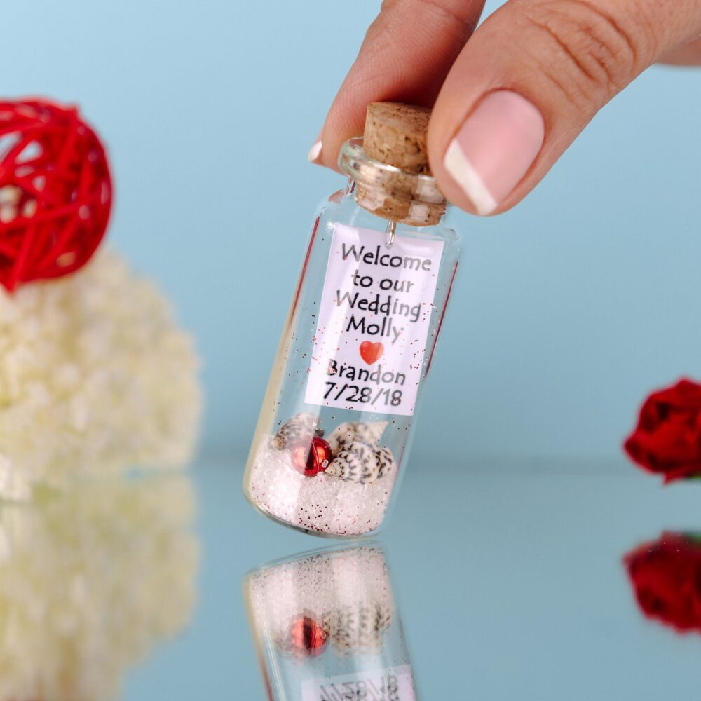 Beach Wedding Invitation, Favors, Wedding Favors For Guests, Mermaid Message in A Bottle, Desti