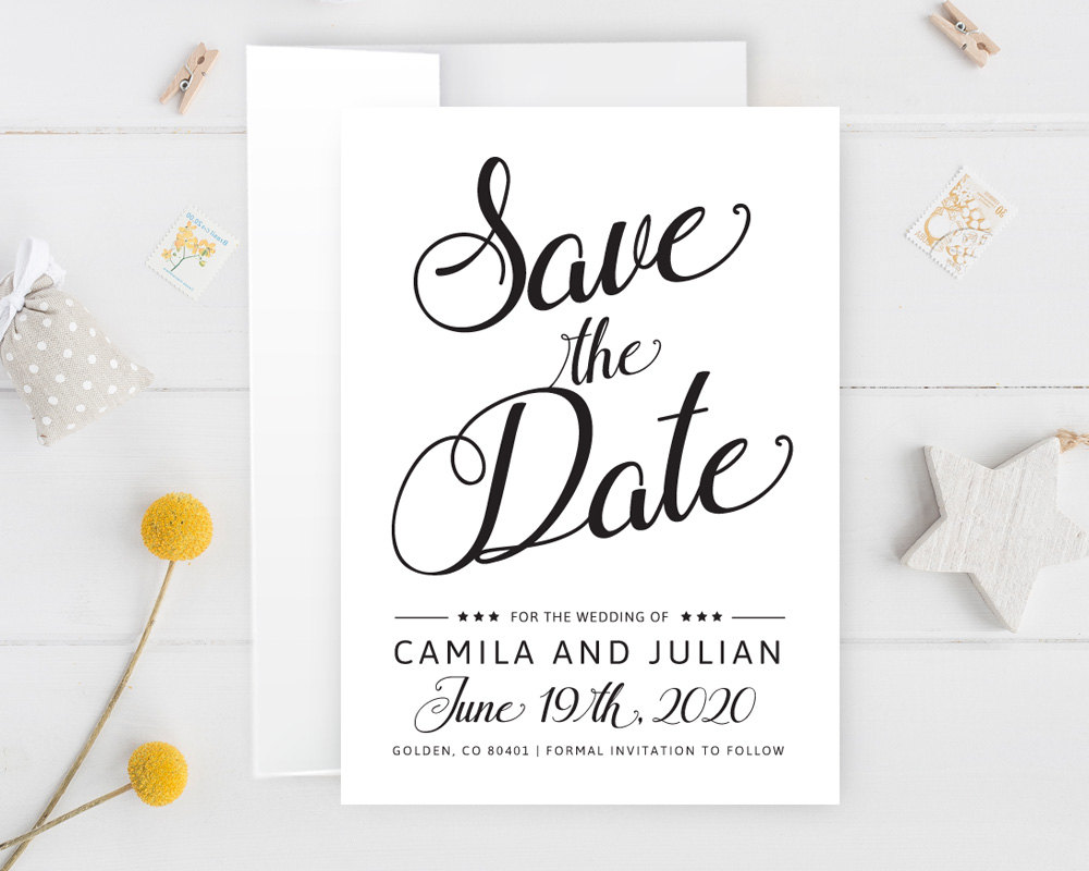 Simple Wedding Save The Date, Elegant Calligraphy Date Cards, Printed Cheap Card