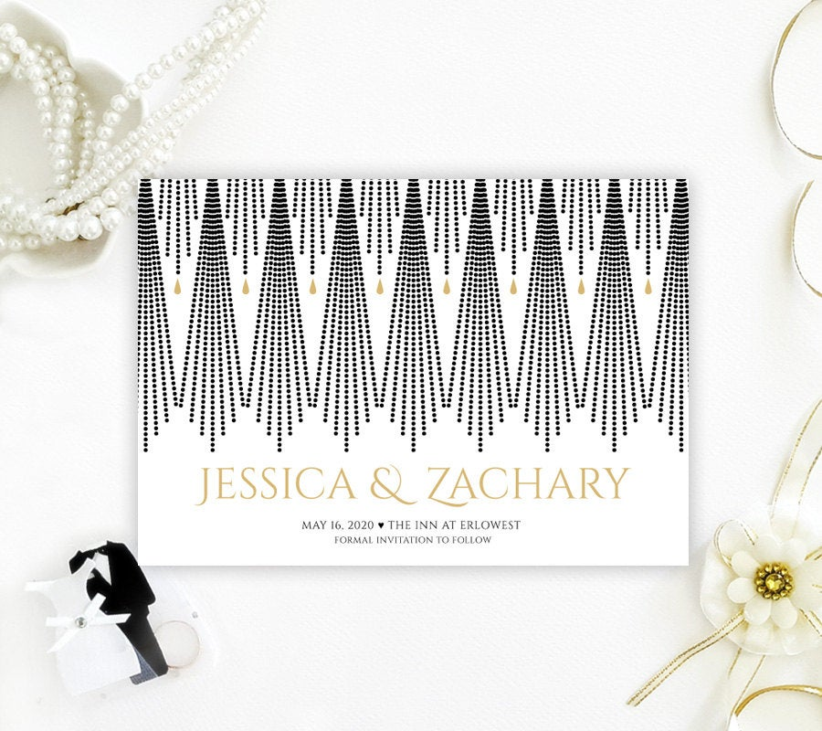 Printed Save The Date Card For Wedding | Gold & Black Save Date Invitations Elegant Artd Deco Dates With Envelopes