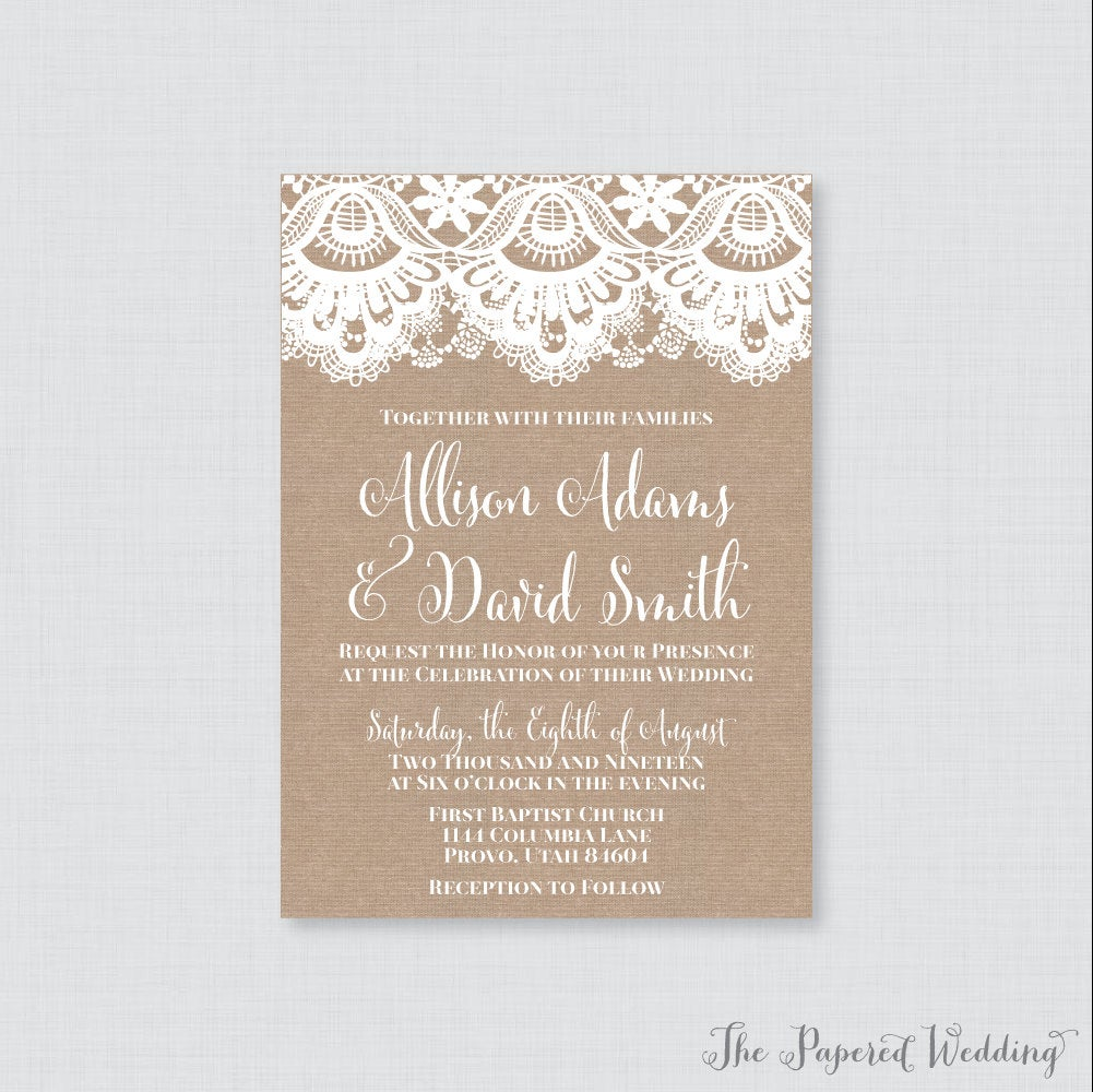 Printable Or Printed Wedding Invitations - Burlap & Lace Invitations, Rustic Invites With 0002