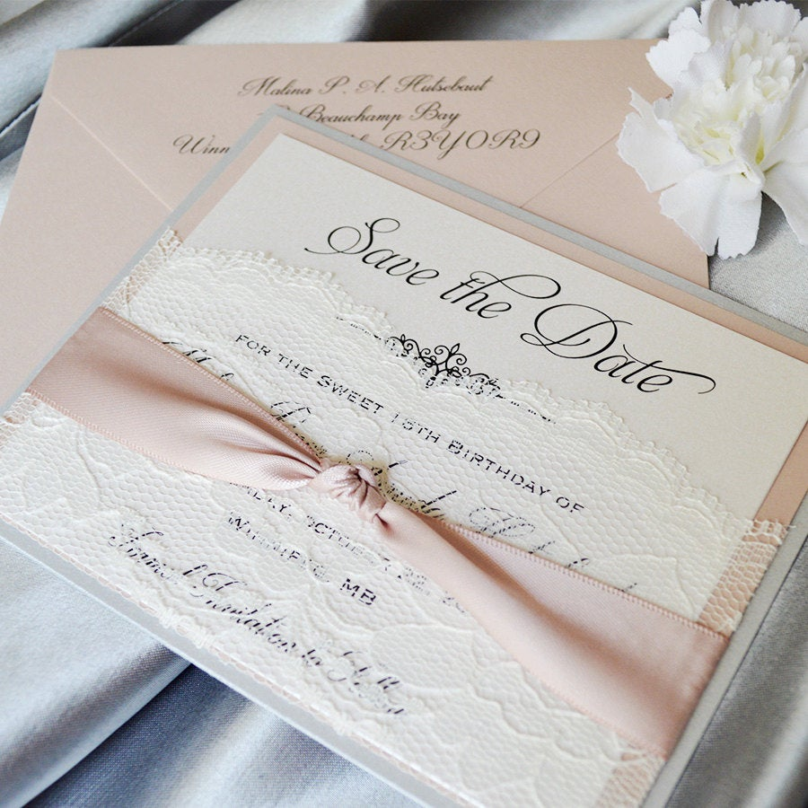 Lace Pocket Save The Date - Silver Glitter & Blush The Card With Ivory Lace Pocket & Antique Pink Ribbon